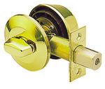 Round Deadbolt Polished Brass Single Cylinder